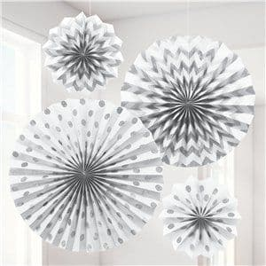 Decoration: White Paper Glitter Fan Decorations x4pk