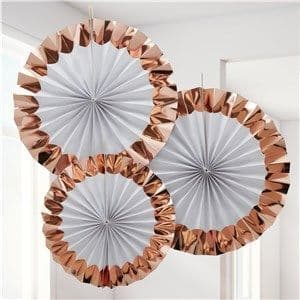 Decoration: White & Rose Gold Paper Fan Decorations - 38cm pack 3