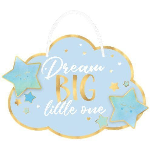 Decoration: Wooden Oh Baby Blue Dream Big - Cloud Hanging Sign