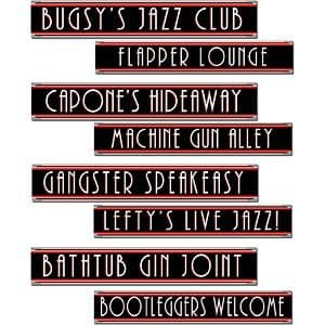 Decorations: 1920s Party Gangster Street Sign Cutouts x4pk