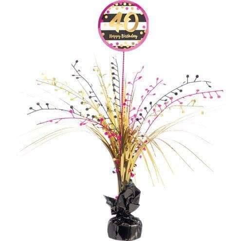 Decorations: 40th Pink & Gold Milestone Spray Centrepiece