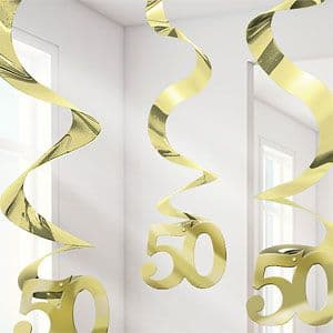 Decorations: 50th Anniversary Hanging Swirls Party Decoration (5pk)