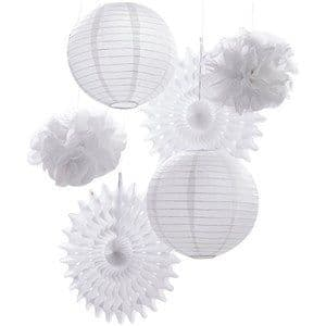 Decorations: Beautiful Botanics White Mixed Hanging Decorations x6pk