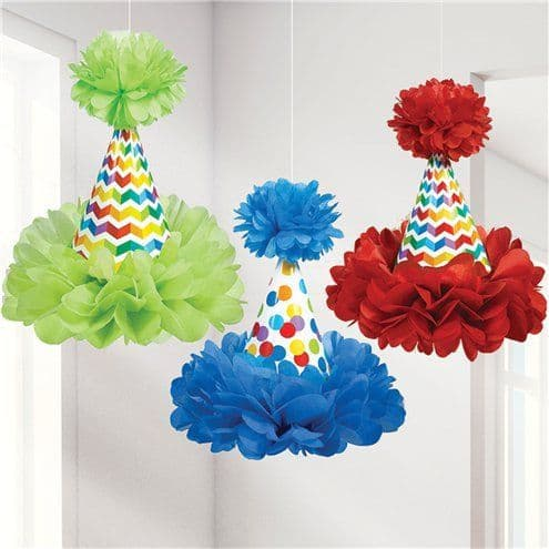 Decorations: Birthday Bright Cone Hat Decoration 3pk