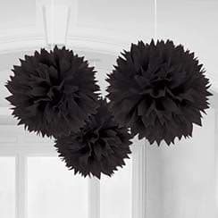 Decorations: Black 40cm Pom Pom Decorations (3pk)