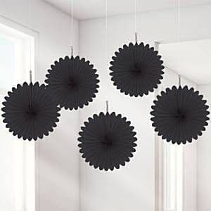 Decorations: Black Hanging Fan Decorations - 15.2cm (5pk)