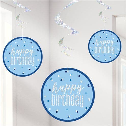 Decorations: Blue Birthday Glitz Hanging Swirls - 80cm