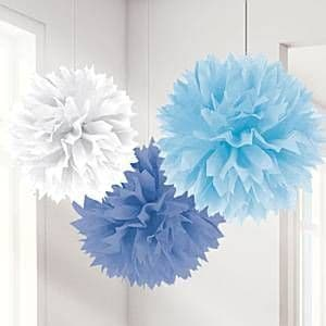 Decorations: Blue Mix Pom Pom Decorations - 40cm (3pk)