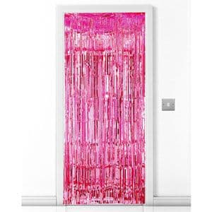 Decorations: Bright Pink Metallic Fringed Door Curtain