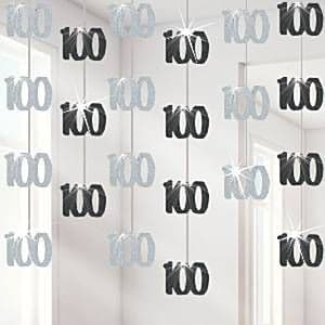 Decorations: Dazzling Effects 100th Hanging Decorations (6pk) Black