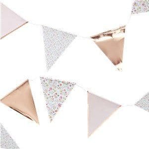 Decorations:  Ditsy Floral Rose Gold Polka Dot Bunting - 3.5m