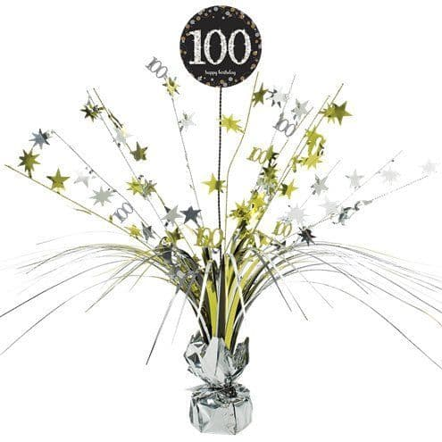 Decorations: Gold Celebration Age 100 Table Centrepiece - 46cm