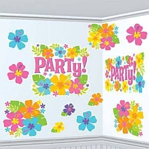 Decorations: Hawaiian Hibiscus Cutouts (12pk)
