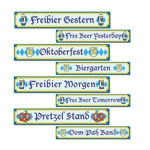 Decorations: Oktoberfest Street Sign Cutouts - 60cm (4pk)
