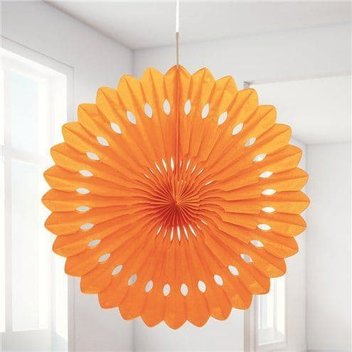 Decorations: Orange Paper Fan Decoration - 41cm x1pk