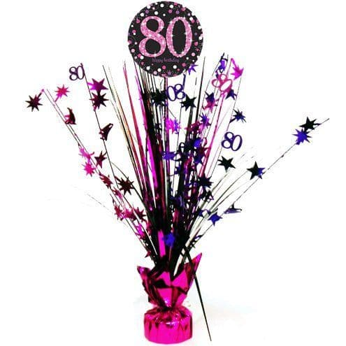 Decorations: Pink Celebration Age 80 Table Centrepiece - 46cm