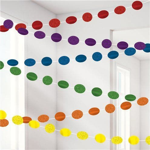 Decorations: Rainbow Glitter Hanging String Decorations