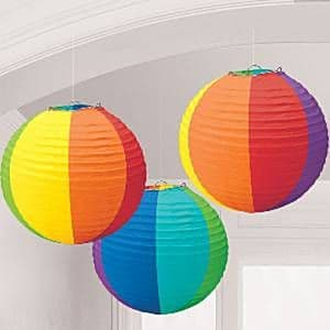 Decorations: Rainbow Paper Lantern Decorations - 24cm (3pk)