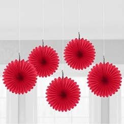 Decorations: Red Hanging Fan Decorations - 15.2cm (5pk)