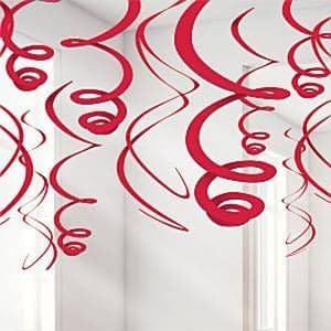 Decorations: Red Hanging Swirls Decoration - 55cm 12pk