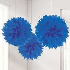 Decorations: Royal Blue Pom Pom Decorations - 40cm (3pk)