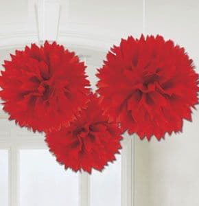 Decorations: Solid Colour 40cm Red Pom Poms Decorations  x3pk
