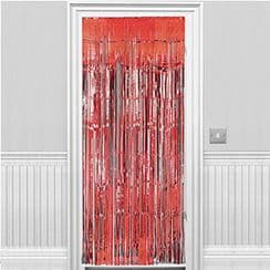Decorations: Solid Colour Decorations Metallic Door Curtain - Red - 8ft (each)