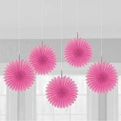 Decorations: Solid Colour Decorations Pink Hanging Fans - 15cm (5pk)