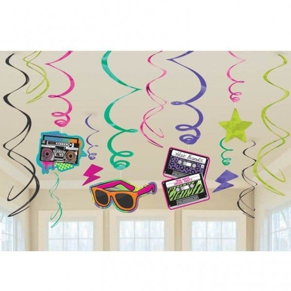 Decorations: Totally 80s Hanging swirls