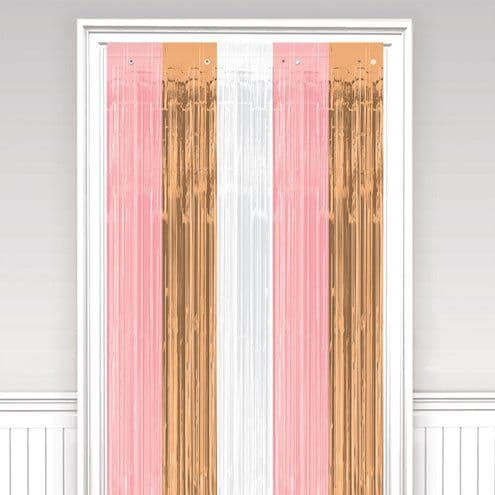 Door Curtain: Rose Gold Blush Foil Curtain - 2.4m