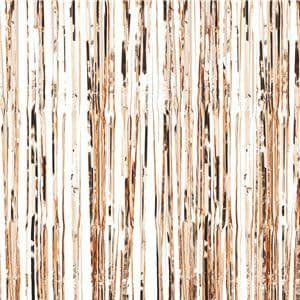 Door Curtain: Rose Gold Metallic Fringed Door Curtain - 3ft x8ft