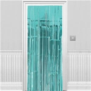 Door Curtain: Turquoise Metallic Fringed Door Curtain