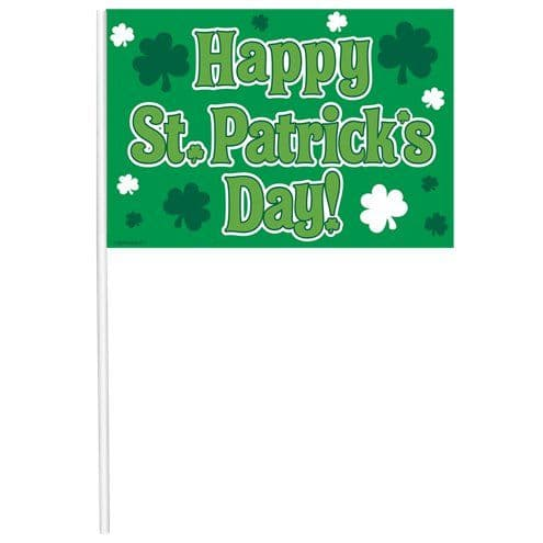 Flags: 'Happy St Patrick's Day' Multipack Flags - 26cm x12pk