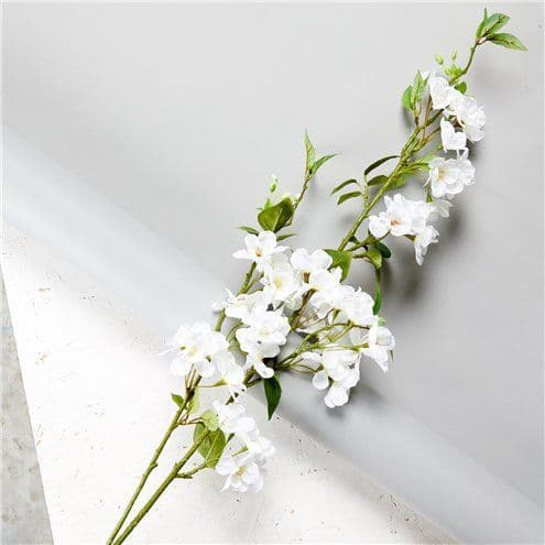 Floral: White Cherry Blossom Spray Decoration - 1.25m