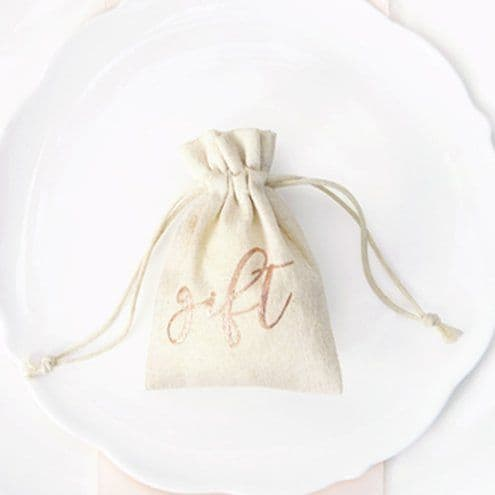 Gift Bags: Rose Gold Cotton Gift Pouches x10pk