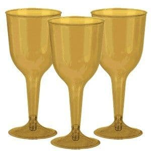Glasses: Gold Party Gold Wine 295ml (20pk)