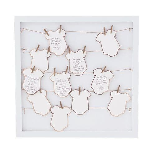 Guest Book: Twinkle Twinkle Babygrow Frame Guestbook - 40cm