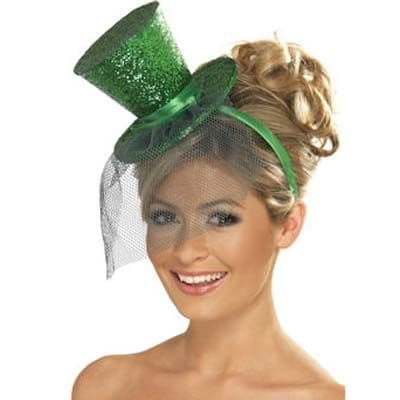 Hat: Mini Glitter Top Hat GREEN