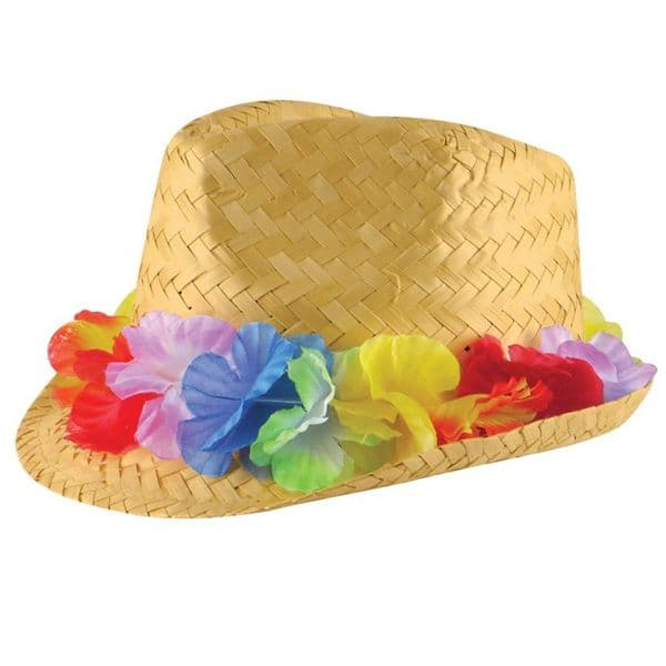 Hat: Straw Hat with Flower Band