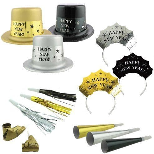Hats: Metallic New Year Party Kit for 25 People