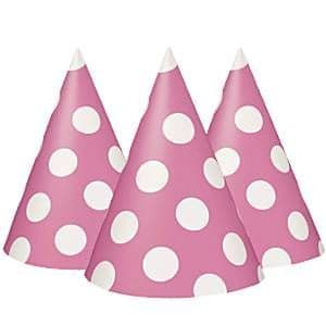 Hats: Pink Polka Dot Party Hats (8pk)