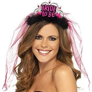 Hen Night: 'Bride To Be' Black Tiara with Veil