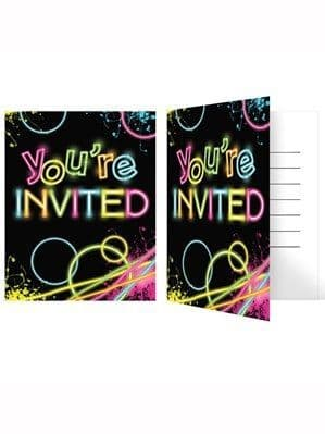 Invitations: Glow Party Invitations & Envelopes 8pk