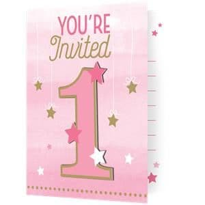 Invites:  One Little Star Girl Invites - Party Invitation Cards x8pk
