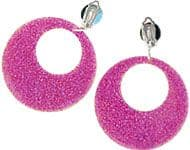 Jewellery: 80s Mod Earrings - Pink Glitter (each)
