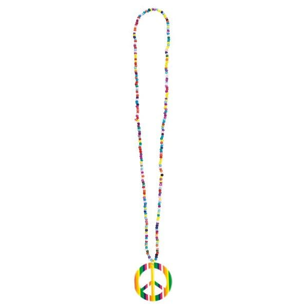 Jewellery: Multi-coloured Hippie necklace with peace medallion.