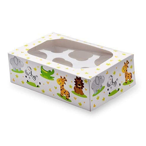 Jungle Animals Cupcake Box - 6 Cupcakes