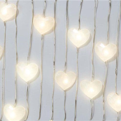 Lights: White Heart LED String Lights - 3m
