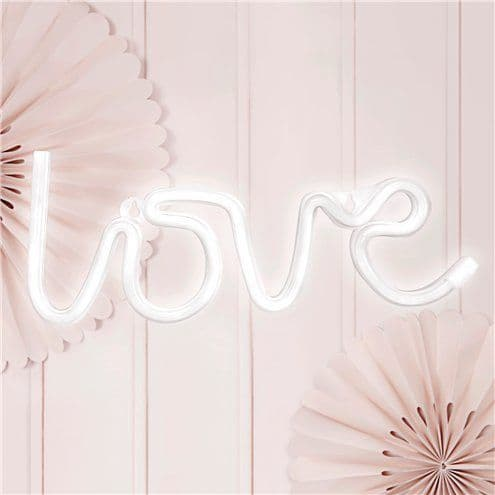 Lights: White LOVE Neon LED Sign - 34.5cm