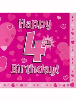Napkins: Happy 4th Birthday Pink Hearts Luncheon Napkins 16pk